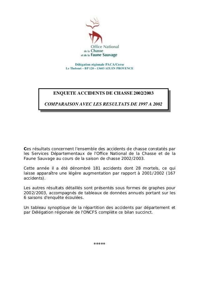 Délégation régionale PACA/Corse Le Tholonet – BP 120 – 13603 AIX EN PROVENCE  ENQUETE ACCIDENTS DE CHASSE 2002/2003 COMPAR...