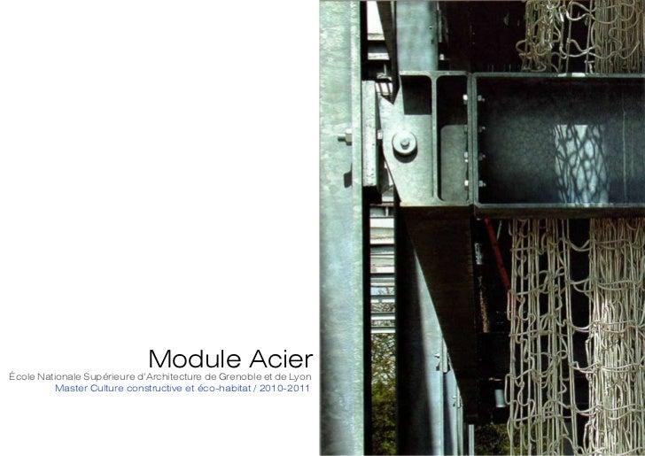 Module Acierécole Nationale Supérieure d'Architecture de Grenoble et de Lyon          Master Culture constructive et éco-h...