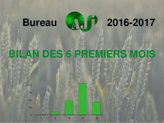 BILAN DES 6 PREMIERS MOIS Bureau 2016-2017