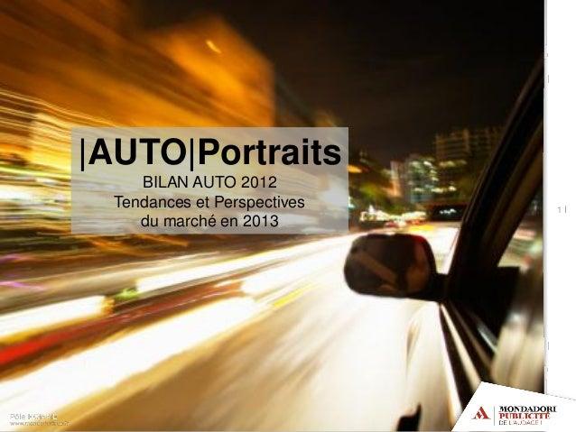 1 I|AUTO|PortraitsBILAN AUTO 2012Tendances et Perspectivesdu marché en 2013