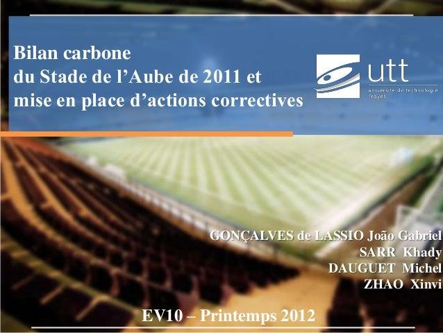 Bilan carbone du Stade de l'Aube de 2011 et mise en place d'actions correctives  GONÇALVES de LASSIO João Gabriel SARR Kha...