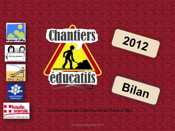 Communauté de Communes du Pays d'Alby          Chantiers éducatifs 2012      1
