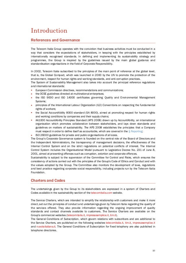 10 Introduction References and Governance The Telecom Italia Group operates with the conviction that business activities m...