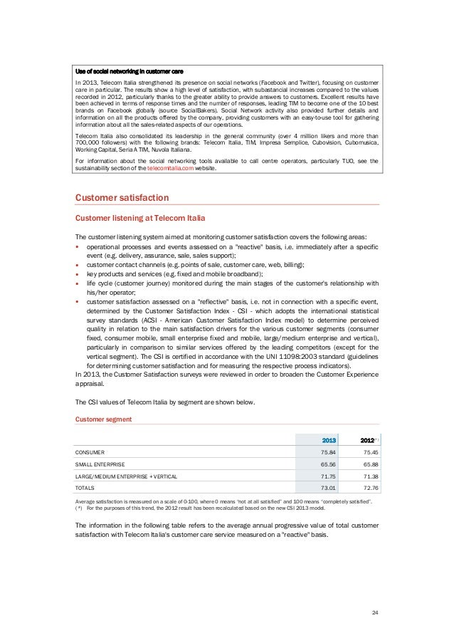24 Use of social networking in customer care In 2013, Telecom Italia strengthened its presence on social networks (Faceboo...