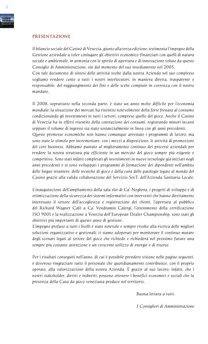 bilancio casino di venezia