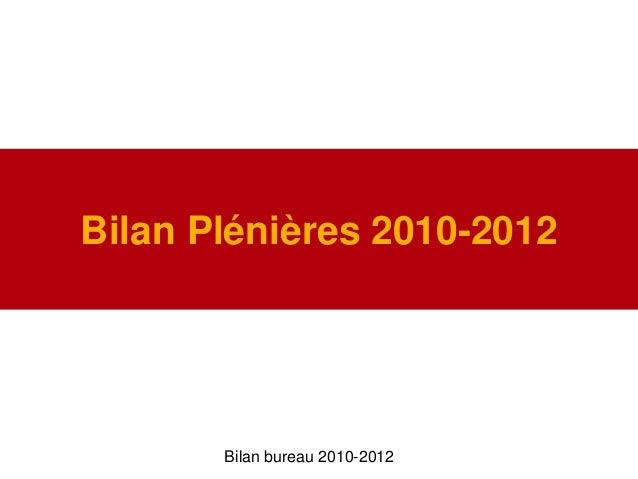 Bilan Plénières 2010-2012Bilan bureau 2010-2012