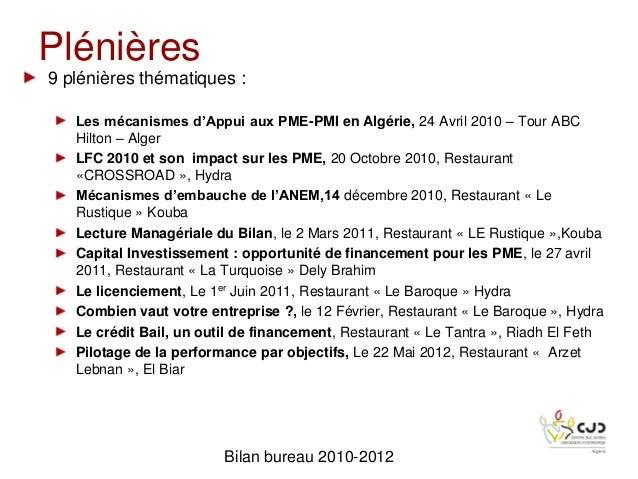 Plénières9 plénières thématiques :Les mécanismes d'Appui aux PME-PMI en Algérie, 24 Avril 2010 – Tour ABCHilton – AlgerLFC...