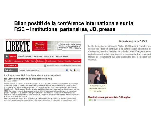 Bilan positif de la conférence Internationale sur laRSE – Institutions, partenaires, JD, presse