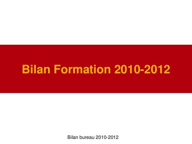 Bilan Formation 2010-2012Bilan bureau 2010-2012