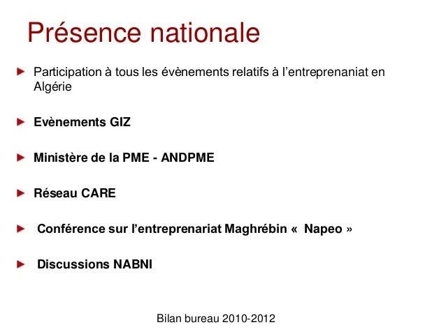 Présence nationaleParticipation à tous les évènements relatifs à l'entreprenaniat enAlgérieEvènements GIZMinistère de la P...