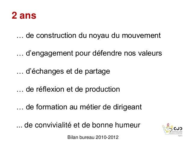 Bilan bureau 2010-2012… de construction du noyau du mouvement… d'engagement pour défendre nos valeurs… d'échanges et de pa...