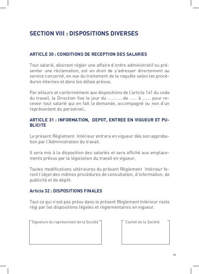 code du travail reglement interieur