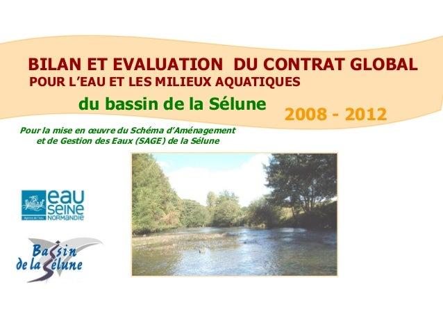 BILAN ET EVALUATION DU CONTRAT GLOBAL  POUR L'EAU ET LES MILIEUX AQUATIQUES  2008 - 2012  Pour la mise en oeuvre du Schéma...