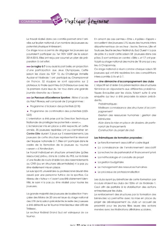 Bilan d'activités de la commission féminines de la FFR présenté au congrès de lyon