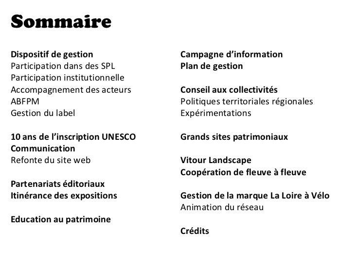 SommaireDispositif de gestion            Campagne d'informationParticipation dans des SPL       Plan de gestionParticipati...