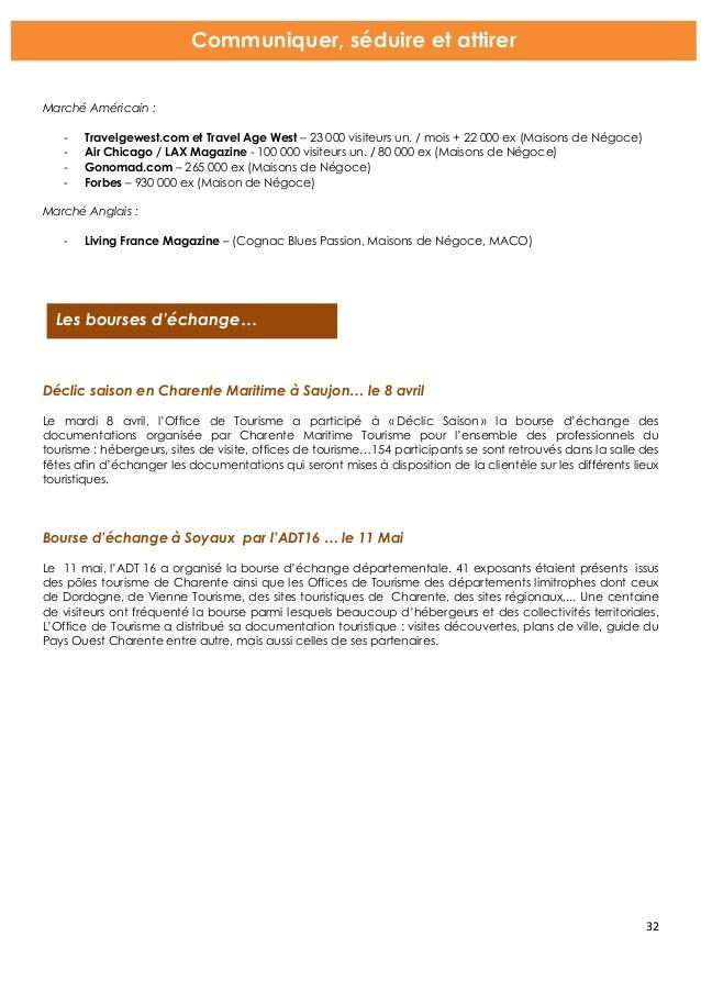 Bilan d 39 activit s ot cognac 2015 - Office de tourisme saujon ...