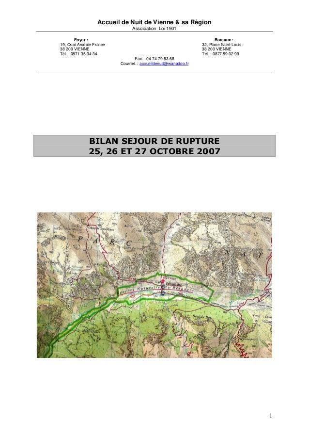 Accueil de Nuit de Vienne & sa Région                                Association Loi 1901         Foyer :                 ...