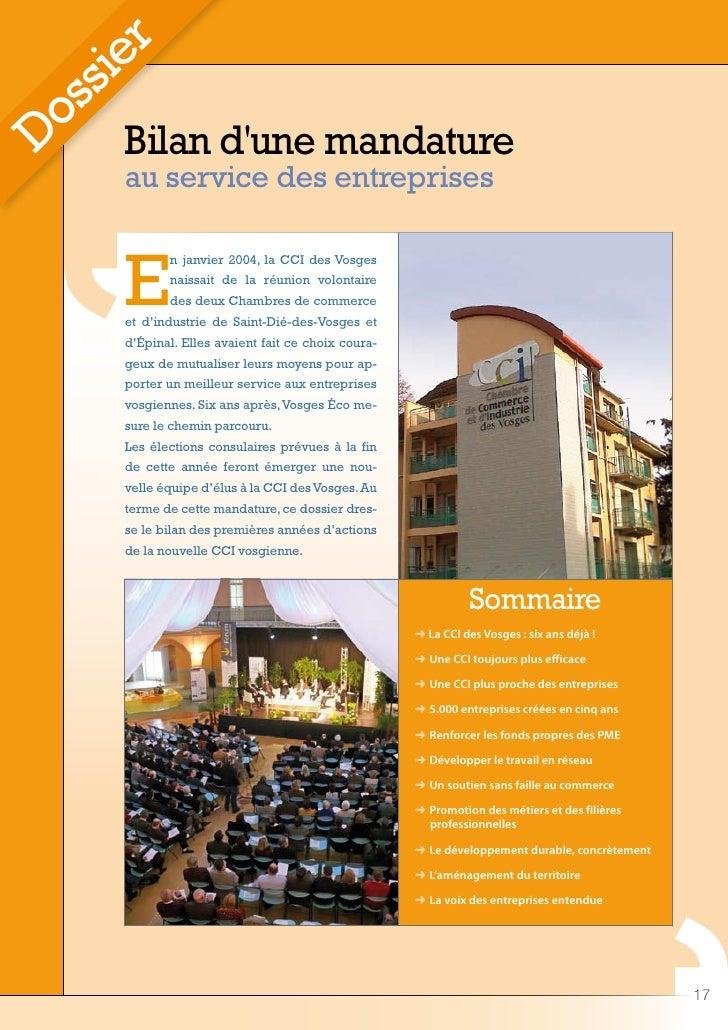 r     ie   ss  o Bilan d'une mandature D     au service des entreprises       E            n janvier 2004, la CCI des Vosg...