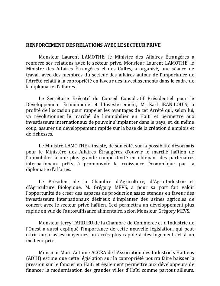 RENFORCEMENTDESRELATIONSAVECLESECTEURPRIVE       Monsieur Laurent LAMOTHE, le Ministre des Affaires Étr...