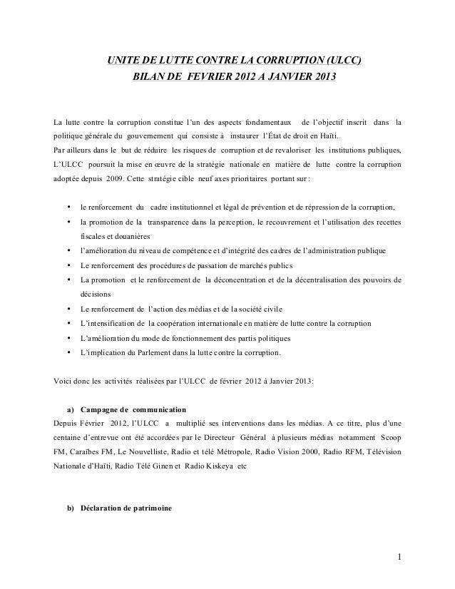 UNITE DE LUTTE CONTRE LA CORRUPTION (ULCC)                        BILAN DE FEVRIER 2012 A JANVIER 2013La lutte contre la c...