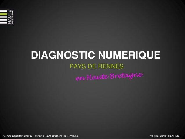 DIAGNOSTIC NUMERIQUE PAYS DE RENNES Comité Départemental du Tourisme Haute Bretagne Ille-et-Vilaine 10 juillet 2013 - RENN...