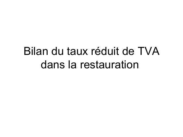 Bilan du taux réduit de TVA dans la restauration