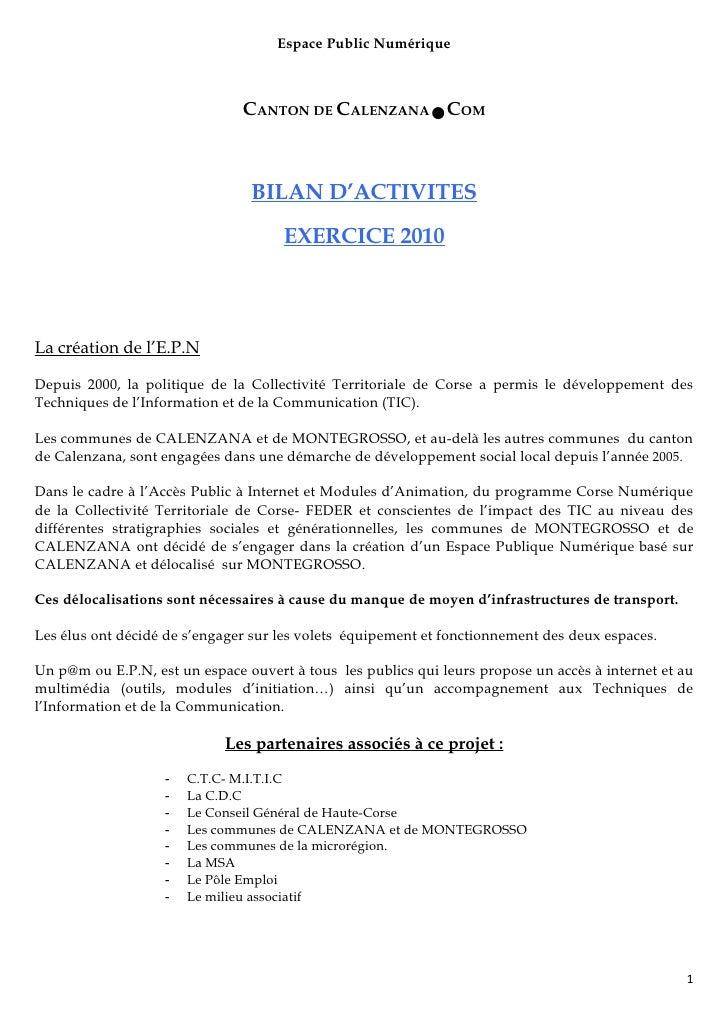 Espace Public Numérique                               CANTON DE CALENZANA●COM                                BILAN D'ACTIV...