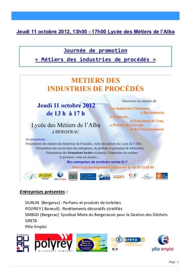 Page 1Jeudi 11 octobre 2012, 13h00 - 17h00 Lycée des Métiers de l'Alba                       Journée de promotion        «...