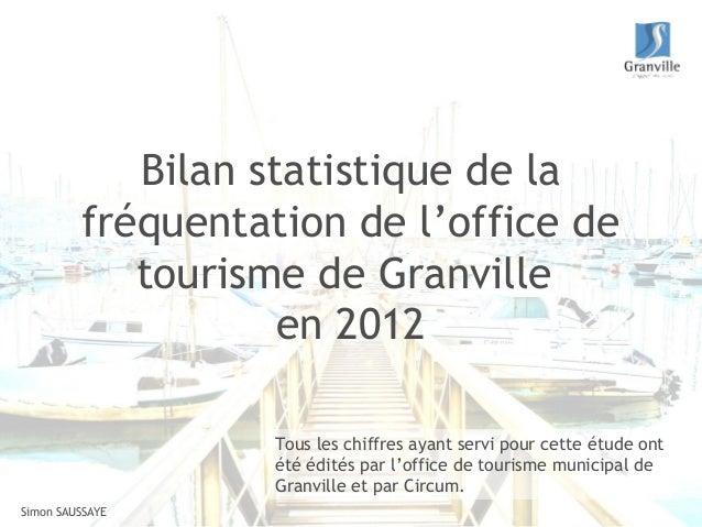 Bilan statistique de la         fréquentation de l'office de            tourisme de Granville                    en 2012  ...