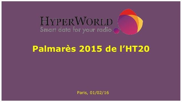 Palmarès 2015 de l'HT20 Paris, 01/02/16