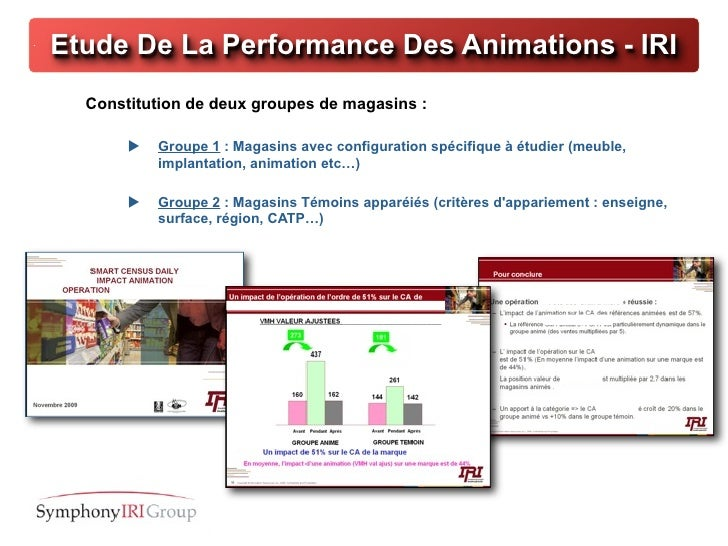 Etude De La Performance Des Animations - IRI  Constitution de deux groupes de magasins :          Groupe 1 : Magasins ave...