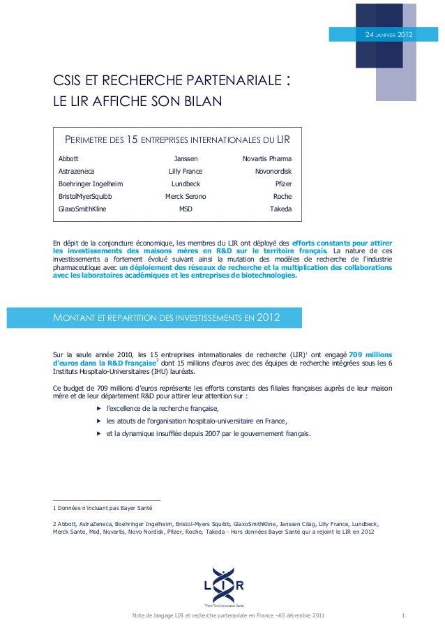 Note de langage LIR et recherche partenariale en France –AS décembre 2011 1 CSIS ET RECHERCHE PARTENARIALE : LE LIR AFFICH...