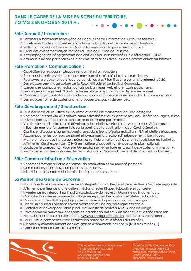 Bilan d 39 activit s 2013 de l 39 office de tourisme du val de garonne - Office de tourisme de marmande ...