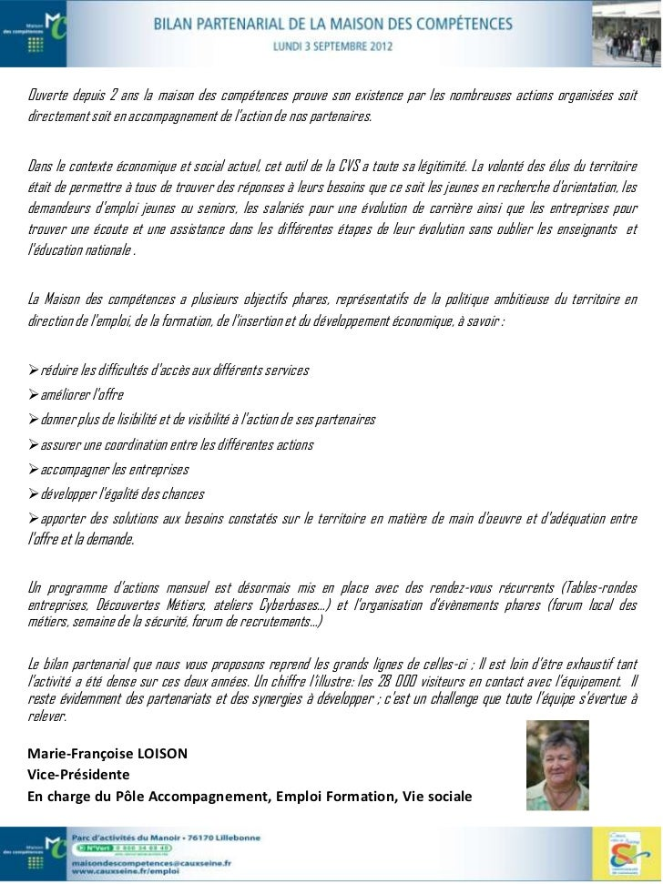 bilan partenarial de la maison des comp u00e9tences
