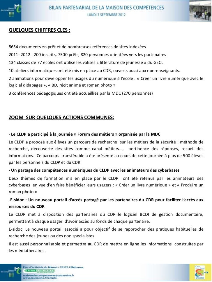 LE MOT DU DIRECTEUR :- Les synergies prévues par les partenaires du CDR de la MDC se mettent en place : mise en commundes ...