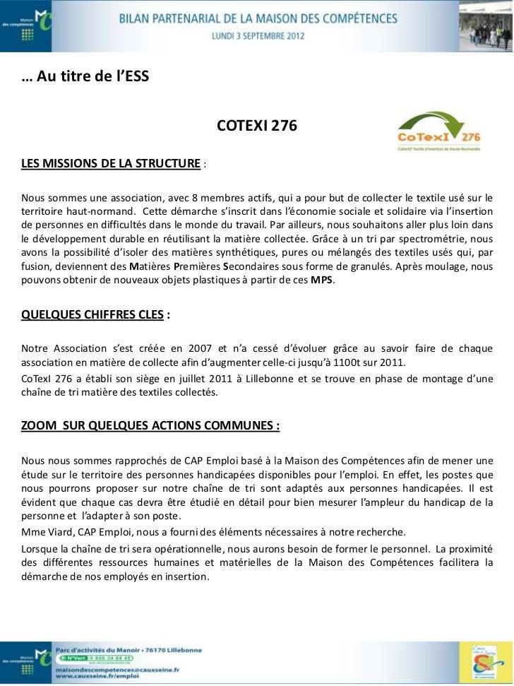 LE MOT DE LA PRESIDENTE :Grâce à la démarche « Entreprendre en coopérant », la Communauté de Communes Caux Vallée deSeine ...