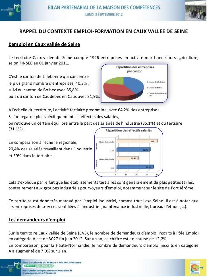 En Juin 2012, le nombre de demandeurs d'emploi inscrits en catégorie A, B, C s'établit à 5177 en Cauxvallée de Seine et 13...