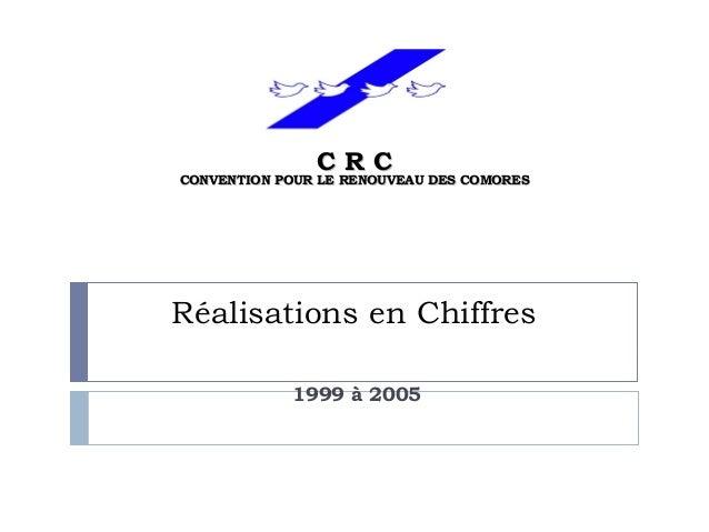 Réalisations en Chiffres 1999 à 2005 C R CC R C CONVENTION POUR LE RENOUVEAU DES COMORESCONVENTION POUR LE RENOUVEAU DES C...