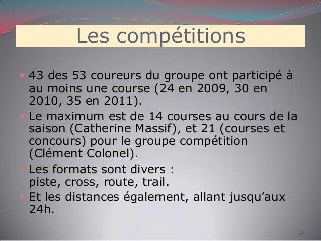 Les compétitions  43 des 53 coureurs du groupe ont participé à au moins une course (24 en 2009, 30 en 2010, 35 en 2011). ...