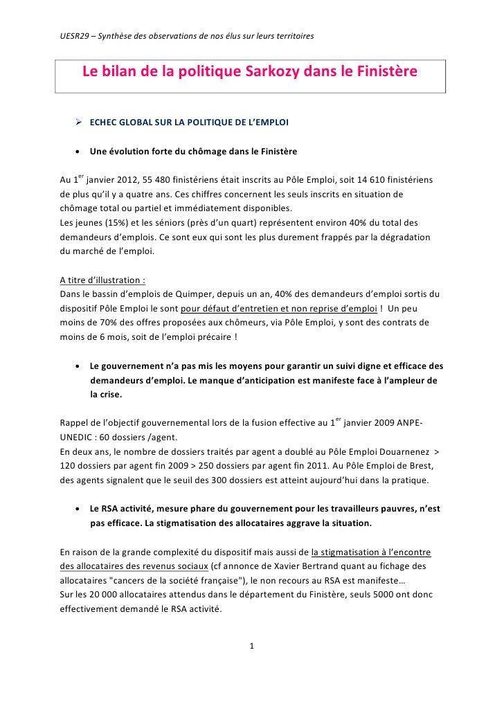 UESR29 – Synthèse des observations de nos élus sur leurs territoires      Le bilan de la politique Sarkozy dans le Finistè...