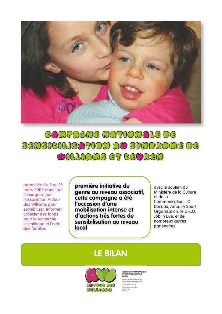 Campagne nationale de sensibilisation au syndrome de       Williams et Beuren      organisée du 9 au 15      première init...