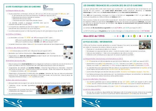 LES GRANDES TENDANCES DE LA SAISON 2012 EN LOT-ET-GARONNE  LE SITE TOURISTIQUE GENS DE GARONNE La fréquentation du site : ...