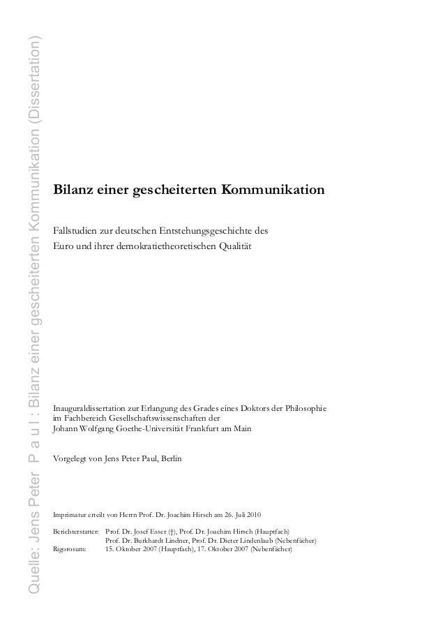 Quelle: Jens Peter P a u l : Bilanz einer gescheiterten Kommunikation (Dissertation)                                      ...