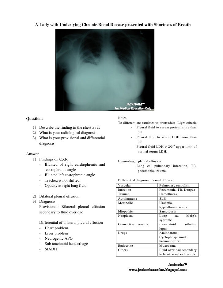 A Lady with Underlying Chronic Renal Disease presented with Shortness of BreathQuestions                                  ...