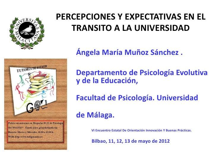 PERCEPCIONES Y EXPECTATIVAS EN EL   TRANSITO A LA UNIVERSIDAD    Ángela María Muñoz Sánchez .    Departamento de Psicologí...