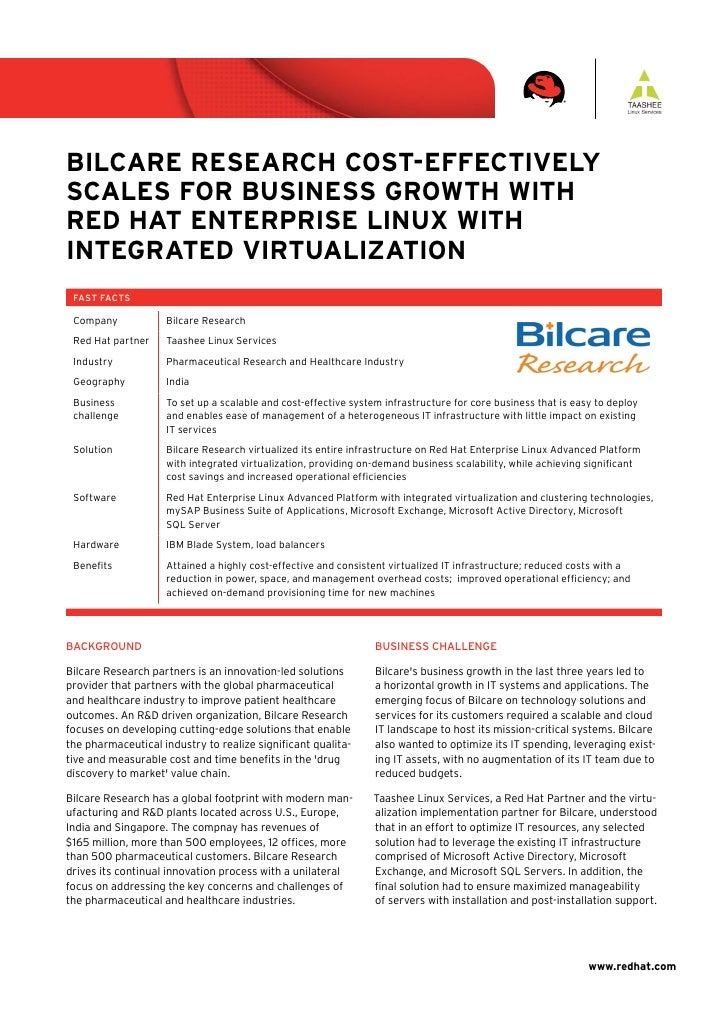 Bilcare research cost-effectively scales for Business Growth with red hat enterprise linux with inteGrated virtualization ...