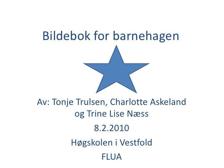 Bildebok for barnehagen<br />Av: Tonje Trulsen, Charlotte Askeland og Trine Lise Næss <br />8.2.2010<br />Høgskolen i Vest...