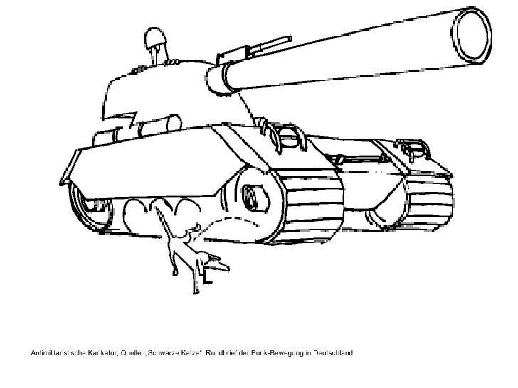 """<ul><li>Antimilitaristische Karikatur, Quelle: """"Schwarze Katze"""", Rundbrief der Punk-Bewegung in Deutschland </li></ul>"""