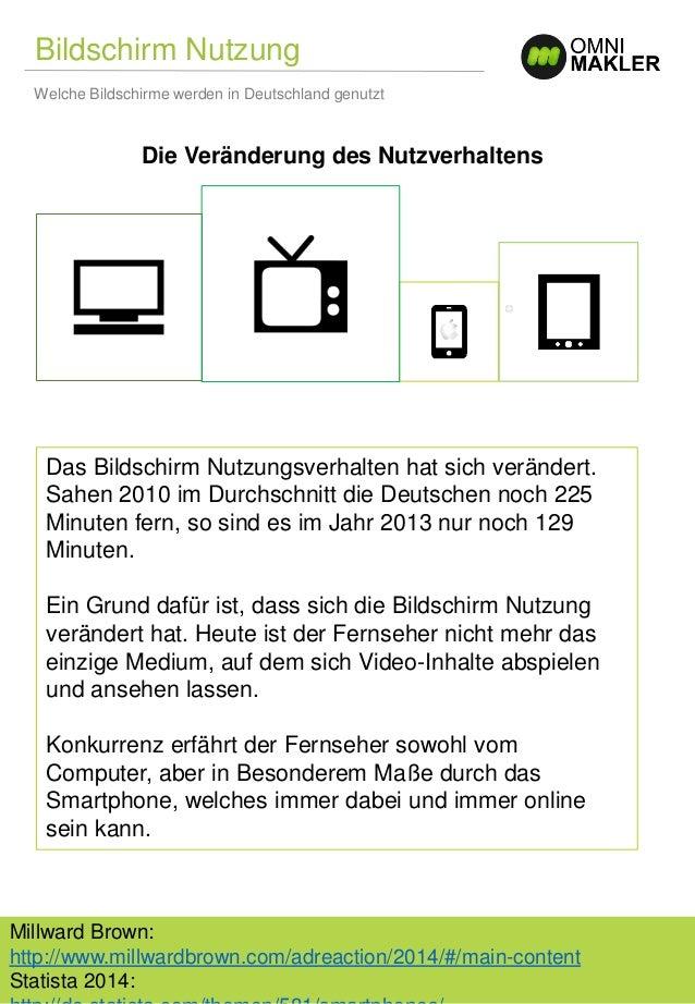 Bildschirm Nutzung Welche Bildschirme werden in Deutschland genutzt Millward Brown: http://www.millwardbrown.com/adreactio...