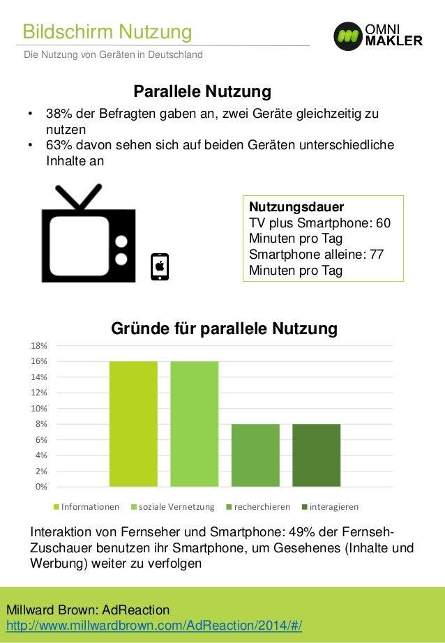 Bildschirm Nutzung Die Nutzung von Geräten in Deutschland Gründe für parallele Nutzung Parallele Nutzung • 38% der Befragt...